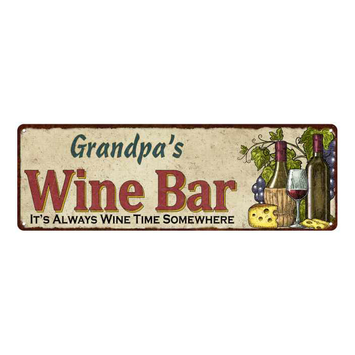 Grandpa's Wine Bar Personalized Home Decor Metal Gift 6x18 Sign 106180052205