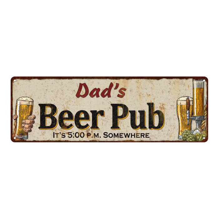 Dad's Beer Pub Personalized Man Cave Bar Decor Gift 6x18 Sign 106180053032