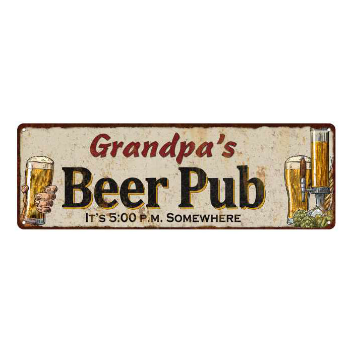 Grandpa's Beer Pub Personalized Man Cave Bar Decor Gift 6x18 Sign 106180053459