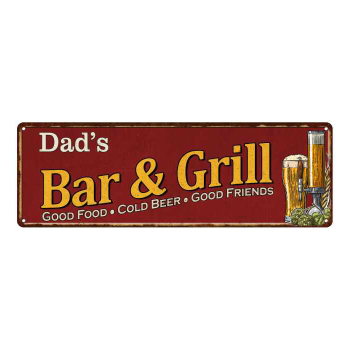 Dad's Bar and Grill Red Personalized Man Cave Decor 6x18 Sign 106180054036