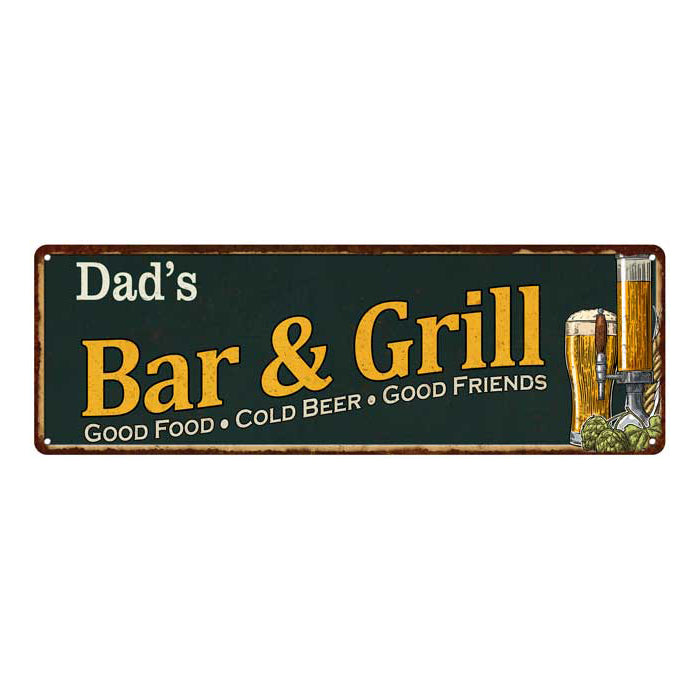 Dad's Bar and Grill Red Personalized Man Cave Decor 6x18 Sign 106180055002