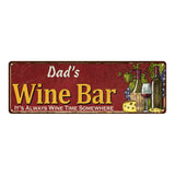 Dad's Wine Bar Red Personalized Home Kitchen Decor 6x18 Sign 106180056002