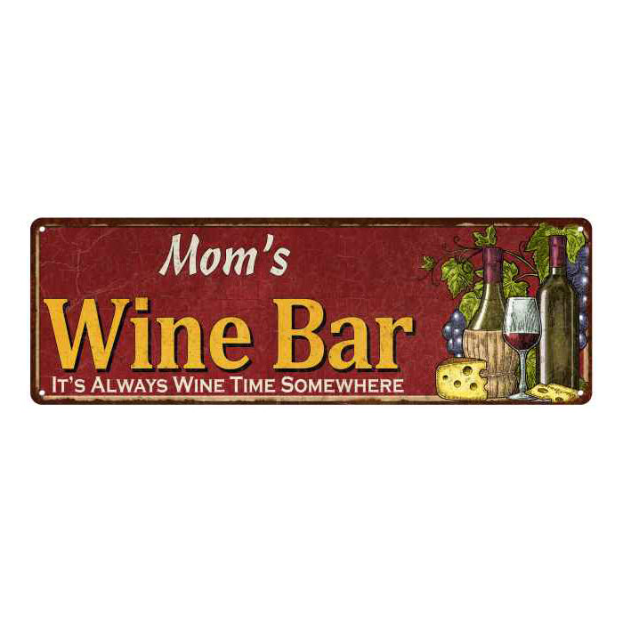 Mom's Wine Bar Red Personalized Home Kitchen Decor 6x18 Sign 106180056004