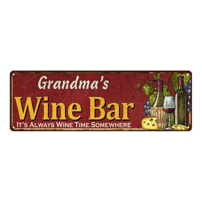 Grandma's Wine Bar Red Personalized Home Kitchen Decor 6x18 Sign 106180056207