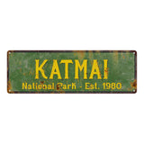 Katmai National Park Rustic Metal 6x18 Sign Cabin Wall Decor 106180057005