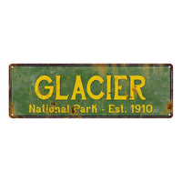 Glacier National Park Rustic Metal 6x18 Sign Cabin Wall Decor 106180057006