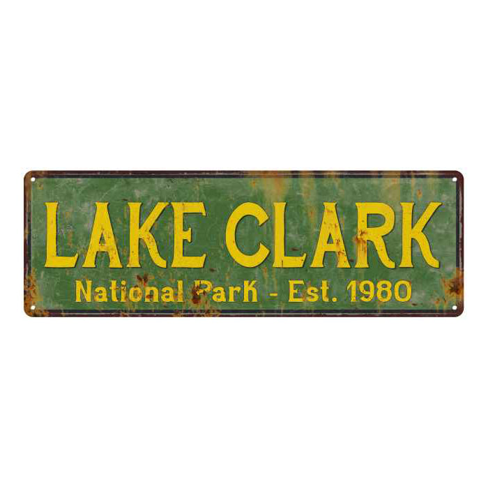 Lake Clark National Park Rustic Metal 6x18 Sign Cabin Wall Decor 106180057021