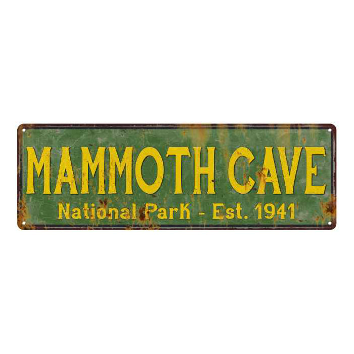 Mammoth Cave National Park Rustic Metal 6x18 Sign Cabin Wall Decor 106180057041