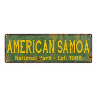 American Samoa National Park Rustic Metal 6x18 Sign Cabin Decor 106180057043
