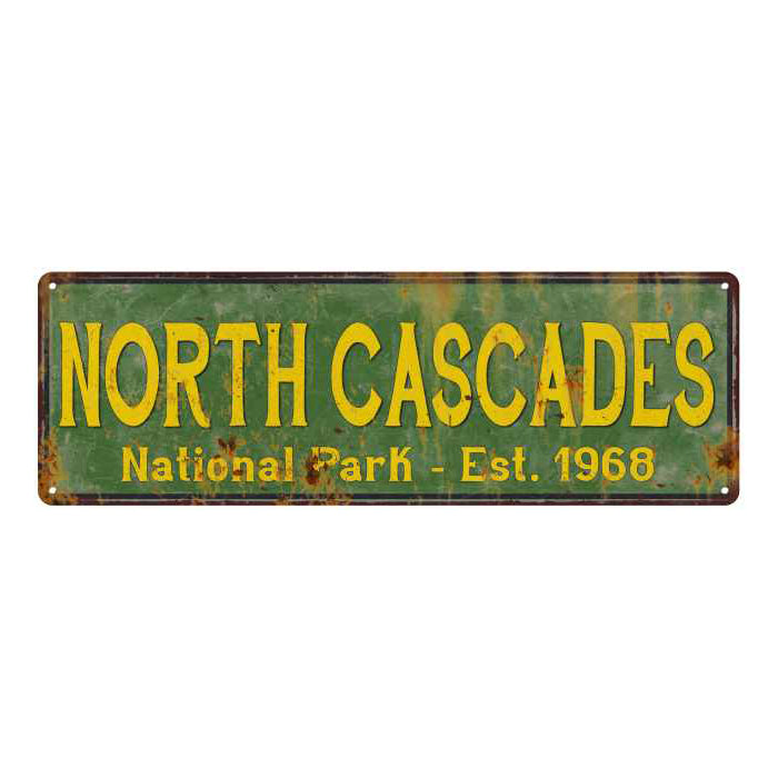 North Cascades National Park Rustic Metal 6x18 Sign Cabin Decor 106180057044