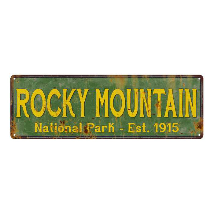 Rocky Mountain National Park Rustic Metal 6x18 Sign Cabin Decor 106180057045