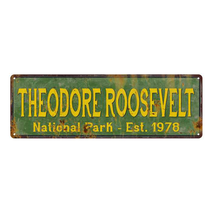 Theodore Roosevelt National Park Rustic Metal 6x18 Sign Cabin Decor 106180057054