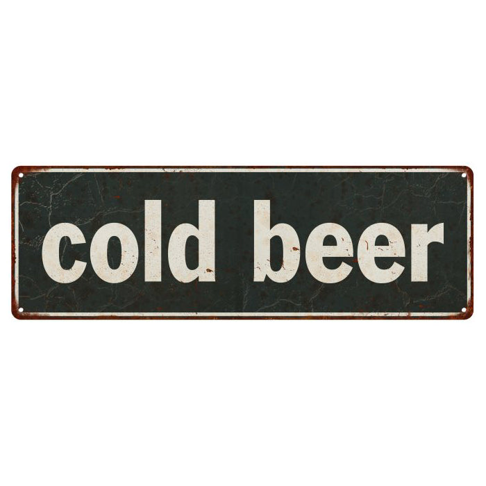 Cold Beer Vintage Look Shabby Chic Gift Metal Sign 6x18 106180062014