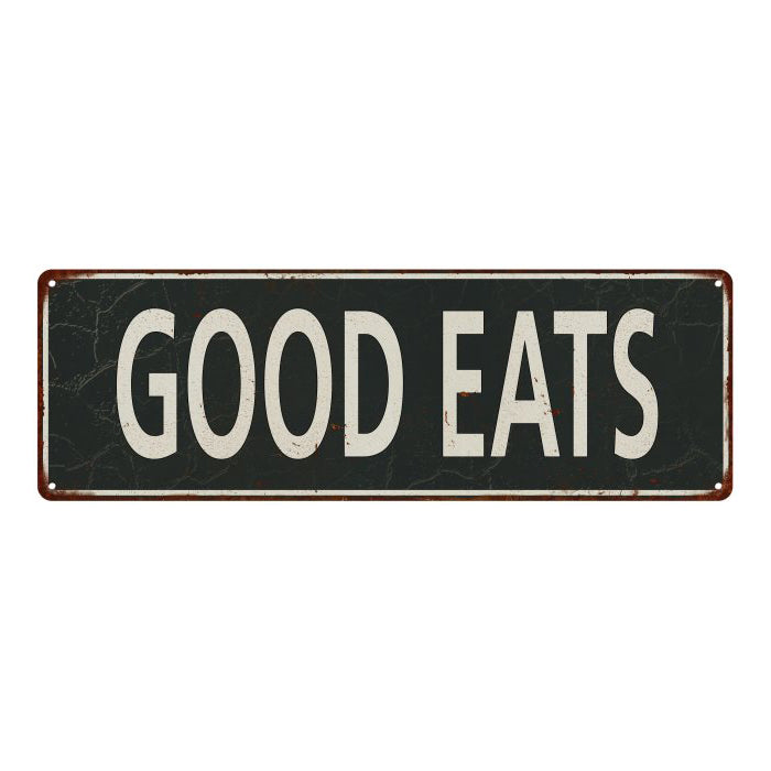 Good Eats Vintage Look Shabby Chic Gift Metal Sign 6x18 106180062038