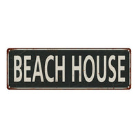 Beach House  Vintage Look Shabby Chic Gift Metal Sign 6x18 106180062039