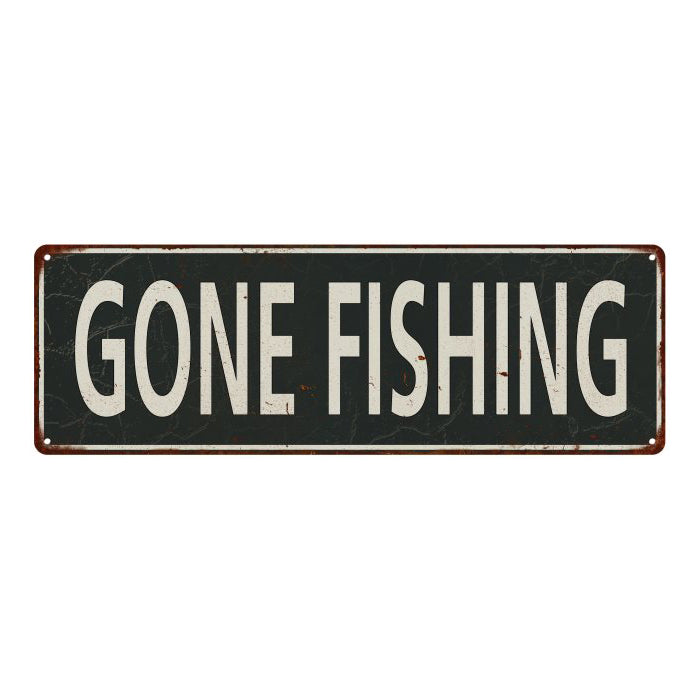 Gone Fishing  Vintage Look Shabby Chic Gift Metal Sign 6x18 106180062042