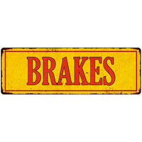 Brakes in Vintage Looking Metal Sign Shop Oil Gas 6x18 Garage 106180064004