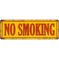 No Smoking in Vintage Looking Metal Sign Shop Oil Gas 6x18 Garage 106180064006