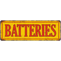 Batteries in Vintage Looking Metal Sign Shop Oil Gas 6x18 Garage 106180064007