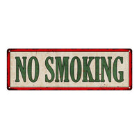 NO SMOKING Vintage Looking Metal Sign Shop Oil Gas 6x18 Garage 106180064017