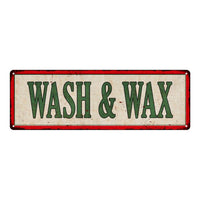WASH & WAX Vintage Looking Metal Sign Shop Oil Gas 6x18 Garage 106180064022