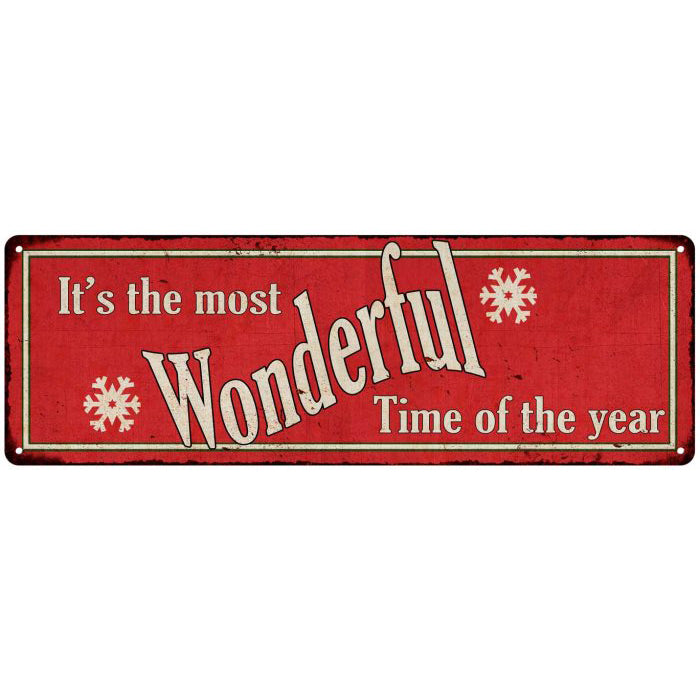 Wonderful Time of the Year Holiday Christmas Metal Sign 6x18 106180065006