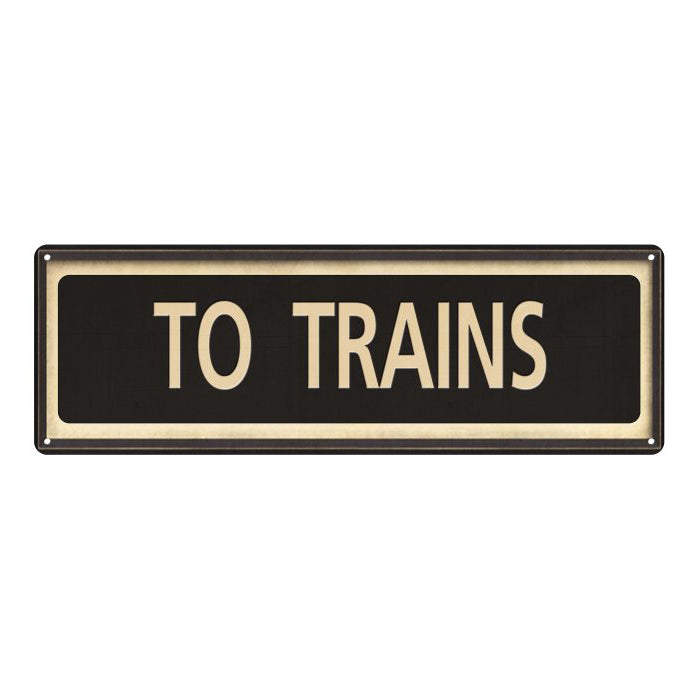 To Trains Vintage Looking Metal Sign Home Decor 6x18 106180066019