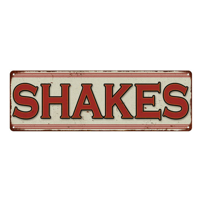 SHAKES Restaurant Diner Food Vintage Look Metal Sign 6x18 106180068004