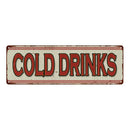 Cold Drinks Restaurant Diner Food Vintage Look Metal Sign 6x18 106180068010
