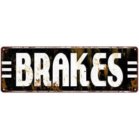 Brakes Garage Shop Vintage Looking Metal Sign 6x18 106180069015