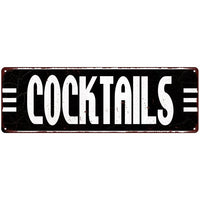 Cocktails Bar Alcohol Vintage Looking Metal Sign 6x18 106180069017