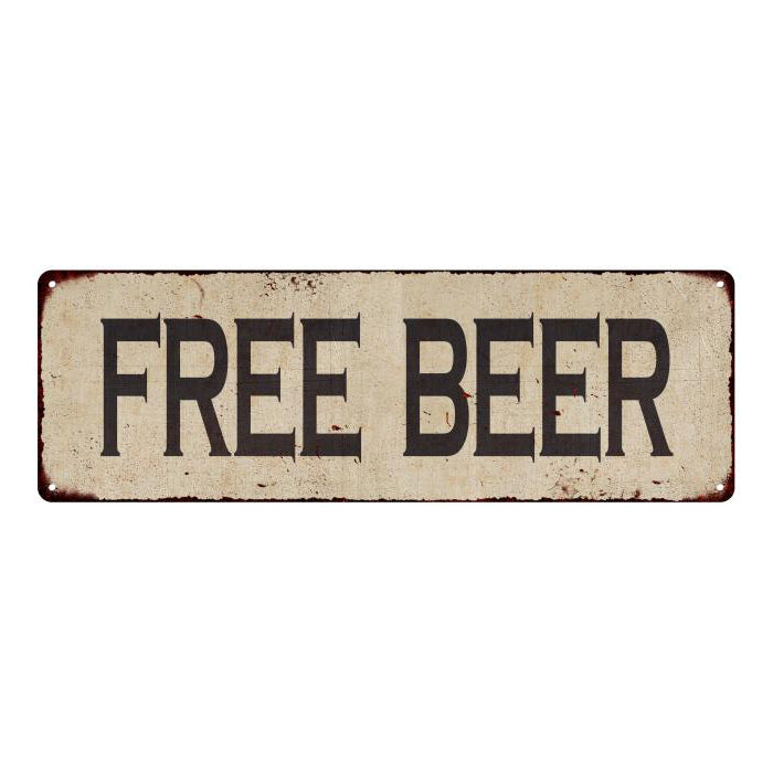 Free Beer Vintage Look Home Decor Farmhouse Metal Sign 6x18 106180071019