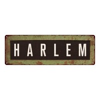 Harlem Trolley Bus Roll Vintage Look Metal Sign 6x18 106180072002