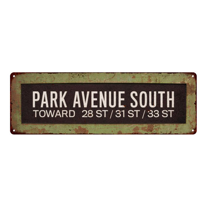 Park Avenue South Trollery Bus Roll Vintage Sign 6x18 106180072010