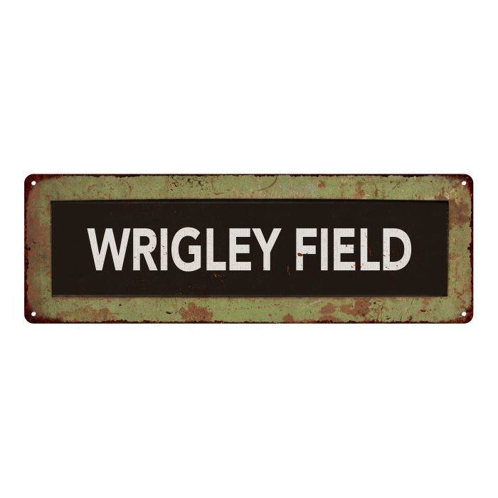 WRIGLEY FIELD Trollery Bus Roll Vintage Metal Sign 6x18 106180072014