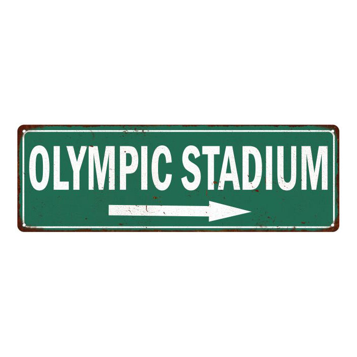 Olympic Stadium Vintage Look Ballpark Baseball Metal Sign 6x18 106180073024