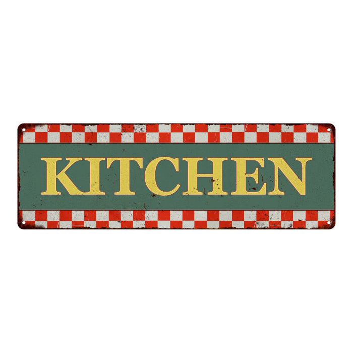 Kitchen Checkerboard Country Style Vintage Metal Sign 6x18 106180075002