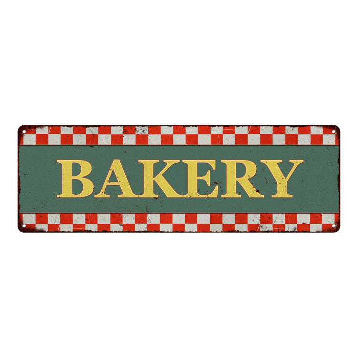 Bakery Checkerboard Country Style Vintage Metal Sign 6x18 106180075009