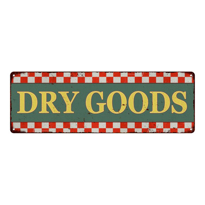 Dry Goods  Checkerboard Country Style Vintage Metal Sign 6x18 106180075010