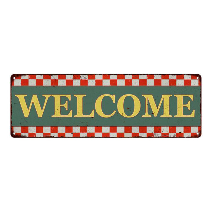 Welcome  Checkerboard Country Style Vintage Metal Sign 6x18 106180075014