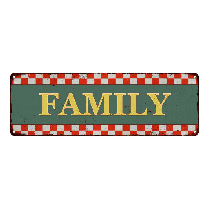 Family  Checkerboard Country Style Vintage Metal Sign 6x18 106180075015