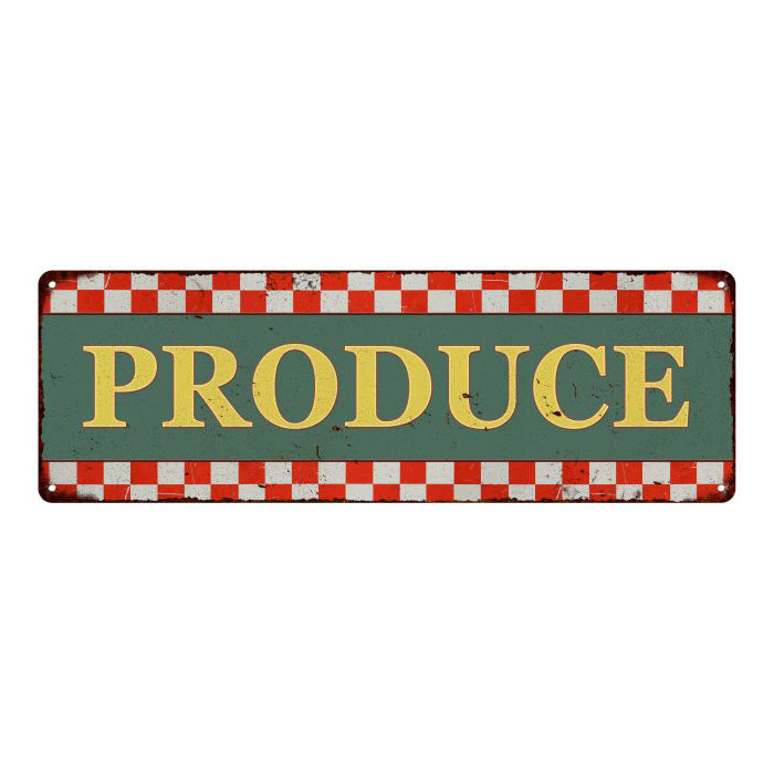 Produce Checkerboard Country Style Vintage Metal Sign 6x18 106180075016