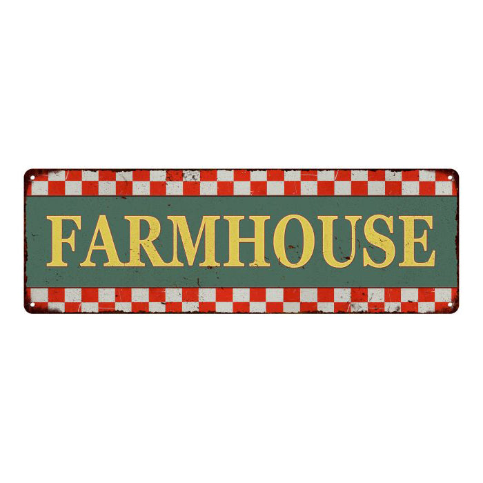 Farmhouse  Checkerboard Country Style Vintage Metal Sign 6x18 106180075017