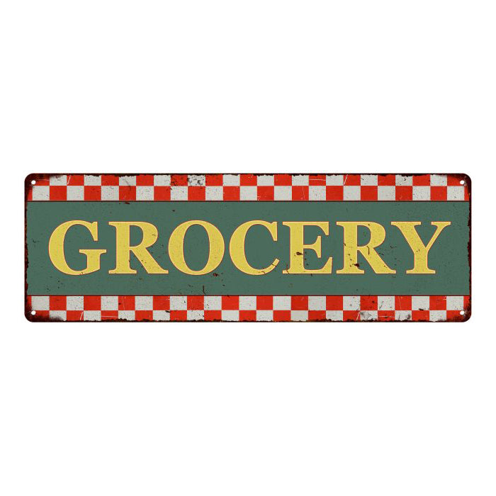 Grocery Checkerboard Country Style Vintage Metal Sign 6x18 106180075018