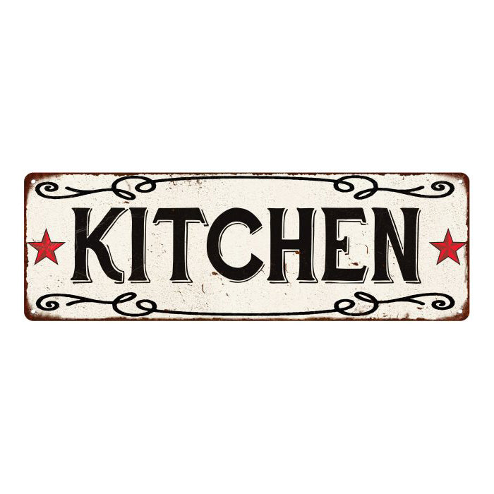KITCHEN Country Style w/Red Stars Vintage Look Metal Sign 6x18 106180078001