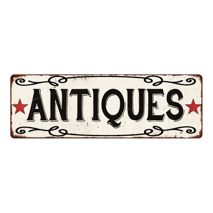 ANTIQUES Country Style w/Red Stars Vintage Look Metal Sign 6x18 106180078002