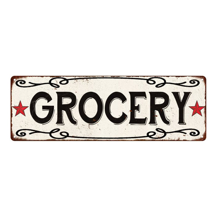 GROCERY Country Style w/Red Stars Vintage Look Metal Sign 6x18 106180078004