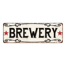 BREWERY Country Style w/Red Stars Vintage Look Metal Sign 6x18 106180078005