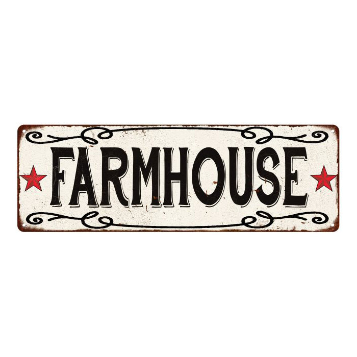 FARMHOUSE Country Style w/Red Stars Vintage Look Metal Sign 6x18 106180078006
