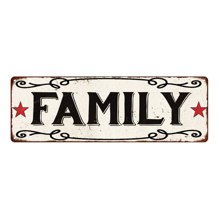 FAMILY Country Style w/Red Stars Vintage Look Metal Sign 6x18 106180078010